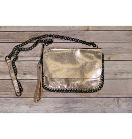Bari Lynn Metallic Gold Chain Purse