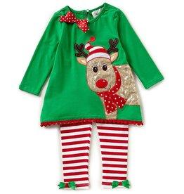 Rare Editions Reindeer Top & Striped Leggings Set Tween