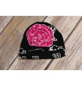 koko-nut Milk Black Cow Cap with Pink Flower NB