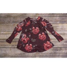 Burgundy Floral Slit Cold Shoulder