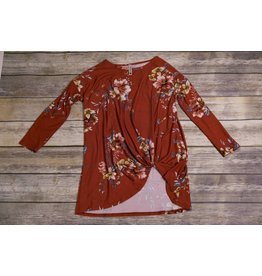 Floral Rust Side Tie Shirt
