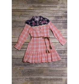 Rare Editions Coral/Navy Plaid Dress with Embroidered Flowers
