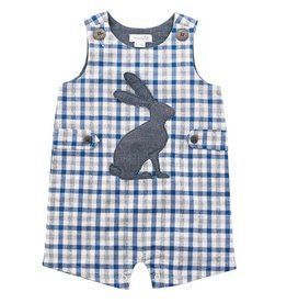 Mud Pie Blue Bunny Gingham Shortall