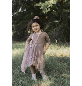 MLKids Brown Mesh  Long Sleeve Dress