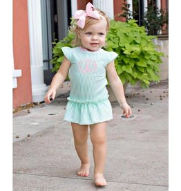 RuffleButts Mint Seersucker Peplum One Piece