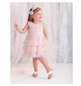 Mud Pie Light Pink Mesh Tiered Dress