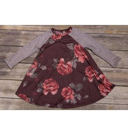 Pomelo Floral Burgundy Raglan Dress