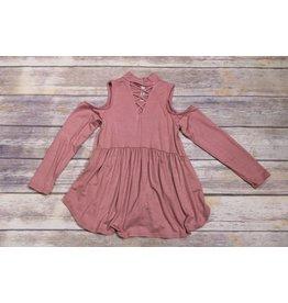 Pomelo Dark Rose Cold Shoulder Dress