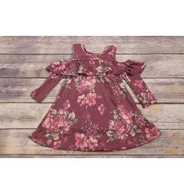 Pomelo Burgundy Floral Cold Shoulder Dress