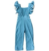 Baileys Blossoms Pleated Ruffled Jumpsuit Romper