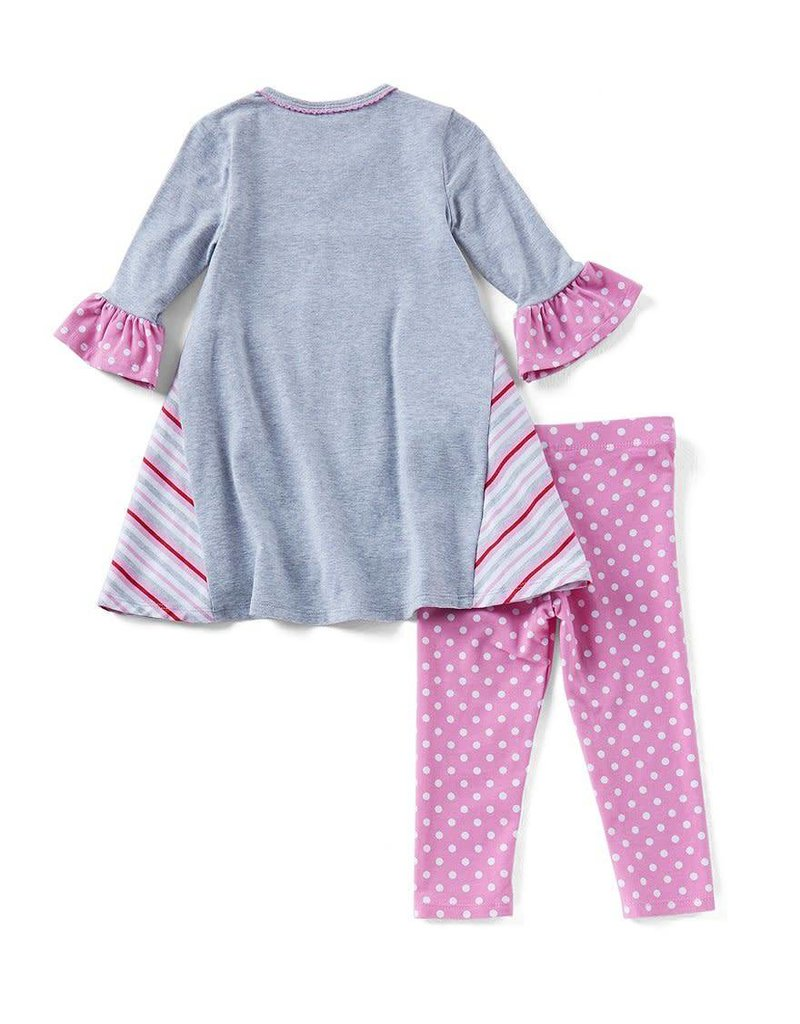 Bonnie Jean Heart Flowers Tunic And Legging Set