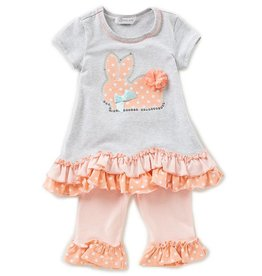 Bonnie Jean Grey and Peach Bunny Tunic And Leggings