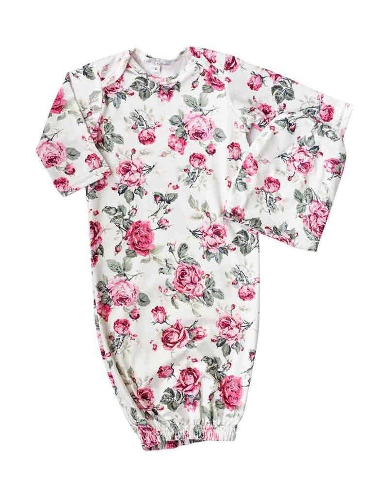 Baileys Blossoms Garden Rose Sleeper Gown & Cap 0-6M