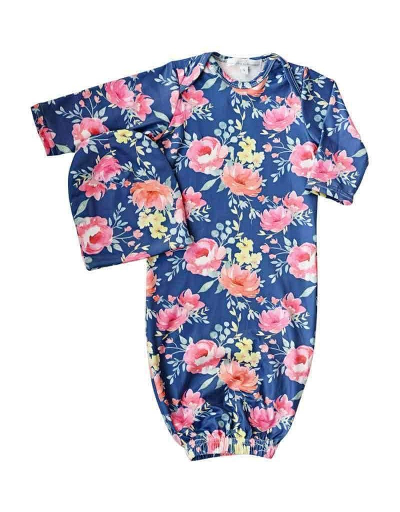 Baileys Blossoms Jennifer Sleeper Gown & Cap 0-6M