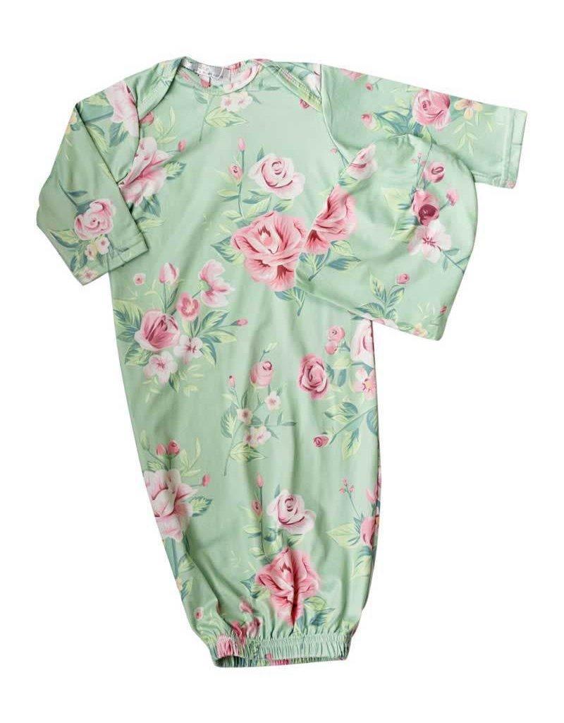 Baileys Blossoms Elle Sleeper Gown & Cap 0-6M