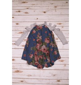 Pomelo Grey and Blue Floral Cut Out Dress