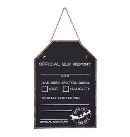 Mud Pie Official Elf Report Chalkboard