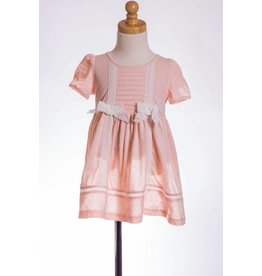 MLKids Peach  Dress with Crochet Lace Bows