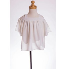 MLKids White Flutter Sleeve Cold Shoulder Top