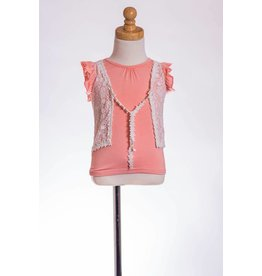 MLKids Coral Shirt with Mock Lace Vest