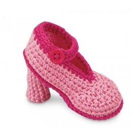 Jefferies Socks Pink Crocheted Heels