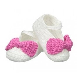 Jefferies Socks White/Bubblegum Crocheted Shoes