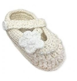 Jefferies Socks Ivory Crocheted Flower Shoe