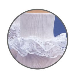 Jefferies Socks White Double Lace Socks