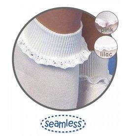 Jefferies Socks White/Pink Trim Lace Socks
