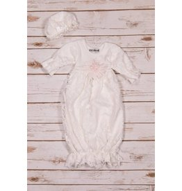 Bebe Gabrielle White Lace Gown with Pink Flower and Cap