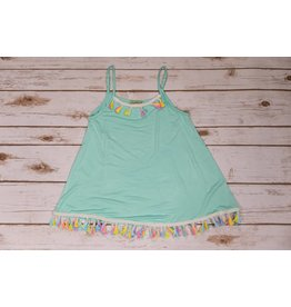 Little Mass Mint Shared Swing Tank Tunic with Tassels
