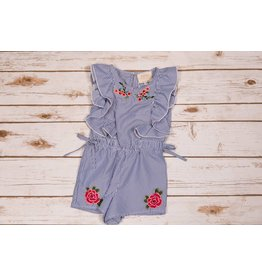 Hannah Bananna Striped Romper with Frilled Sleeves and Floral Embroidery
