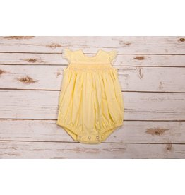 Remember Nguyen Yellow Smocked Bubble Romper with Pearl Accents NB