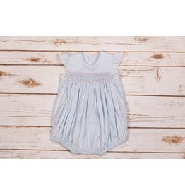 Remember Nguyen Blue Smocked Bubble Romper with Pearl Accents NB