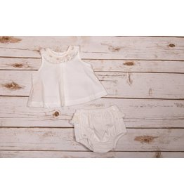 Sen Baby White Erin Bloomer Set with Flower Collar