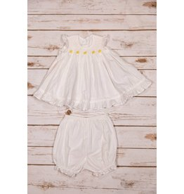 Sen Baby White Dress with Yellow Flowers Bloomer Set