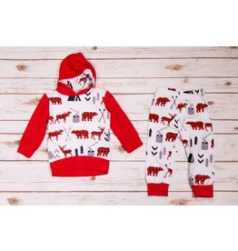 Buffalo Plaid Moose Hoodie Set