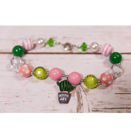 Green And Pink Cactus Necklace