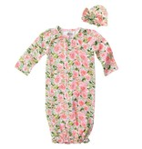 Mud Pie Floral Convertible Gown and Cap Set