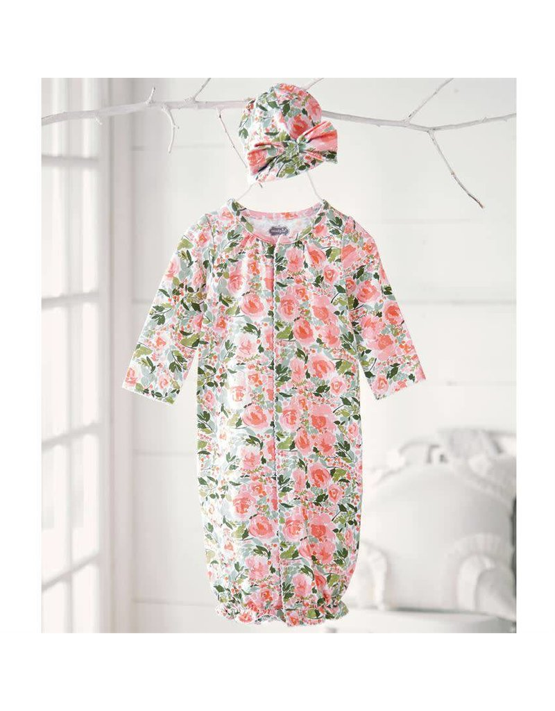 Floral Convertible Gown and Cap Set