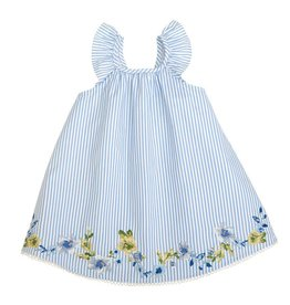 Mud Pie Blue Embroidered Floral Ruffle Dress