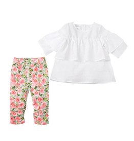 Mud Pie White Tunic and Floral Legging Set