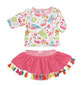 Mud Pie Floral Flamingo Rash Guard Set