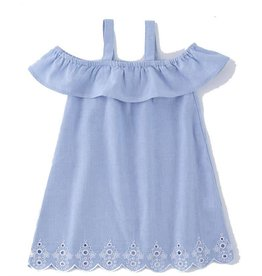 Mud Pie Mini Juniper Dress with White Eyelet Lace Trim