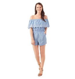 Mud Pie Juniper Romper with White Eyelet Lace