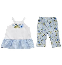 Mud Pie Embroidered Floral Tunic and Capri Set