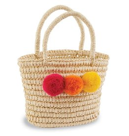 Mud Pie Pom Poms Straw Tote