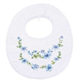 Mud Pie White Floral Embroidered Bib