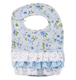 Mud Pie Blue Floral Ruffle Bib