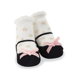 Mud Pie Gold Star Socks with Pink Velvet Bow